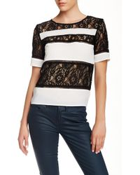Dress Forum - Lace Paneled Tee - Lyst