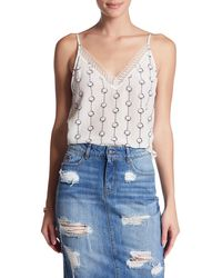 The Kooples - Printed Lace Trim Silk Camisole - Lyst