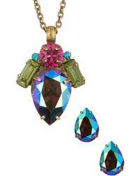 Sorrelli - Pear Shaped Crystal Earrings & Pendant Necklace Set - Lyst