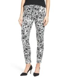 Jen7 - Floral Print Sateen Stretch Ankle Skinny Trousers - Lyst