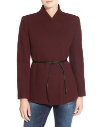 Halogen - Belted Short Wool Blend Coat - Lyst