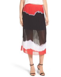Trouvé - Print Pleated Midi Skirt - Lyst