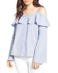 Trouvé - Cold Shoulder Ruffle Blouse - Lyst