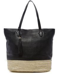 Rebecca Minkoff Mansfield Leather & Straw Tote - Black