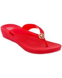 Dizzy Heaven Thong Wedge Sandal - Red