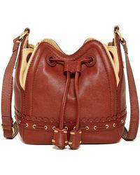 Isabella Fiore Lotus Leather Drawstring Bag - Brown