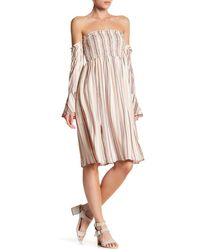 June & Hudson - Smocked Off-the-shoulder Stripe Dress - Lyst