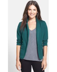 Olivia Moon - Three Quarter Sleeve Knit Blazer - Lyst