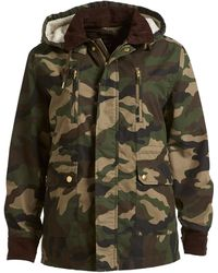 Izzue Hooded Faux Shearling Lined Camouflage Jacket - Green