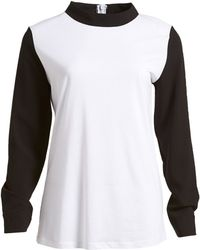 Izzue - Colorblock Mock Collar Crepe Shirt - Lyst