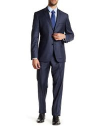 JB Britches - Navy Sharkskin Wool Flat Front Side Vent Suit - Lyst