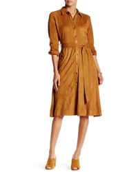 Jealous Tomato Faux Suede Trench Coat - Brown