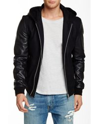 7 Diamonds - Ace Hooded Genuine Leather Contrast Jacket - Lyst