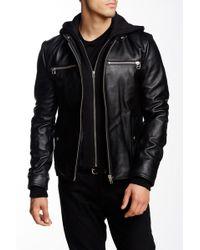 7 Diamonds - Norton Hooded Genuine Leather Jacket - Lyst