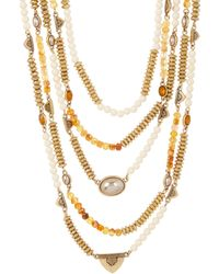 Lucky Brand - Citrine & 7mm Freshwater Pearl Multi Layer Necklace - Lyst