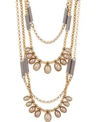 Lucky Brand - Two-tone 9-15mm Pearl & Bead Leather Necklace - Lyst