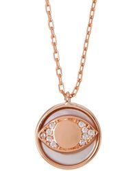 Lucky Brand - Rose Gold Plated Sterling Silver Dainty Round Evil Eye Necklace - Lyst