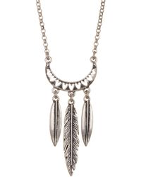 Lucky Brand - Mini Feather Pendant Necklace - Lyst