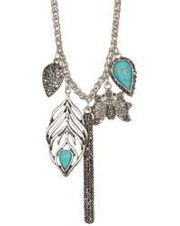 Lucky Brand - Peacock Charm Necklace - Lyst
