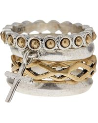 Lucky Brand - Cross Two-tone Ring Stack - Set Of 4 - Size 7 - Lyst