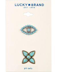 Lucky Brand - Turquoise Evil Eye & Flower Pin Set - Lyst