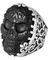 King Baby Studio - Sterling Silver Baroque Scroll Ring Carved Stone Skull - Lyst
