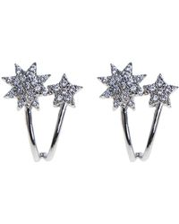 CZ by Kenneth Jay Lane - Cz Pave Double Starburst Earrings - Lyst