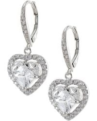 CZ by Kenneth Jay Lane | Cz Halo Heart Drop Earrings | Lyst