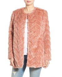Sam Edelman Tiered Faux Fur Topper - Pink