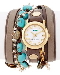 La Mer Collections - Women's Mushroom Moon Shadow Leather & Chain Wrap Watch - Lyst