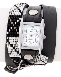 La Mer Collections - Women's Black Studded Leather Wrap Watch - Lyst