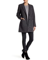 Lucky Brand - Faux Leather Trim Tweed Coat - Lyst
