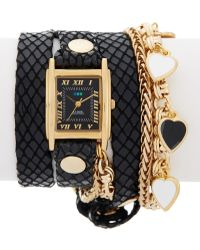 La Mer Collections - Women's Chequered Heart Charm Watch - Lyst