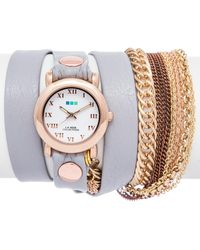 La Mer Collections - Women's Cloud Grey Arizona Chain Watch - Lyst