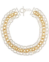Lauren by Ralph Lauren - Two-tone Layered Chain Drape Necklace - Lyst