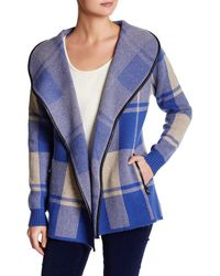 Love Token - Faux Leather Trimmed Plaid Sweater - Lyst