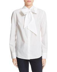FRAME 'le Bowtie' Removable Tie Cotton Poplin Blouse - White