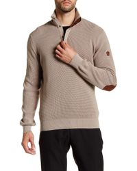 English Laundry - 1/4 Leather Pull Zip Faux Suede Elbow Patch Pullover - Lyst