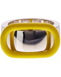 Marc By Marc Jacobs Enamel Buckle Up Ring - Yellow