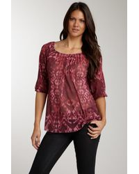 Sweet Pea By Stacy Frati Printed Peasant Blouse - Red