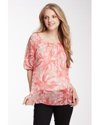 Sweet Pea By Stacy Frati Printed Peasant Blouse - Pink