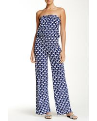 Macbeth Collection - Printed Strapless Jumpsuit - Lyst