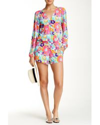 Macbeth Collection - Floral Print Surplice Romper - Lyst