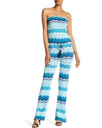Macbeth Collection - Strapless Chevron Jumpsuit - Lyst