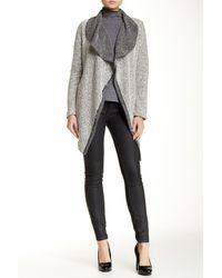Blanc and Noir - Long Tweed Open Drape Cascade Jacket - Lyst