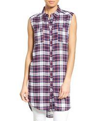 Bobeau - Plaid Two Pocket Sleeveless Tunic Shirt - Lyst