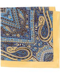 Burma Bibas Paisley Printed Silk Pocket Square - Blue