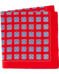 Burma Bibas Medallion Silk Pocket Square - Red