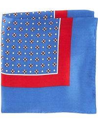 Burma Bibas Neat Printed Silk Pocket Square - Blue