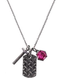 Nicole Miller - Hexagon Dog Tag Charm Long Necklace - Lyst